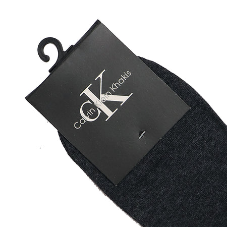 Charcoal Jacquard Edge Logo Dress Sock (CK-1495)