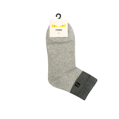 Grey Jacquard Edge Logo Dress Socks   (FE-1501)