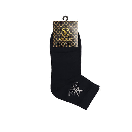 Navy Signature Cotton High Ankle Socks (LV-1489)