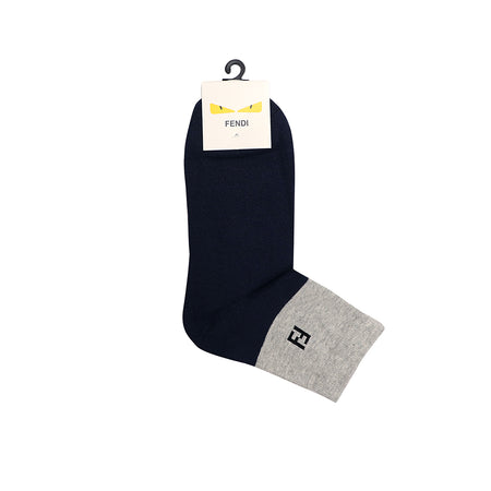 Navy Jacquard Edge Logo Dress Sock (FE-1507)
