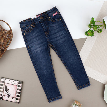 Girls Skinny Leg Blue Wash Stretch Denim Jeans (ZA-10419)
