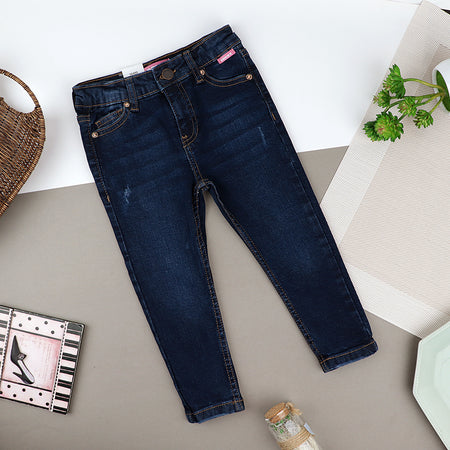 Girls Skinny Leg Blue Wash Stretch & Distressed Denim Jeans (ZA-10426)