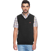 Hlster Charcoal  Men Sleeveless V Neck Rib Sweater  (HO-1526)
