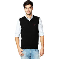 Hlster Black Men Sleeveless V Neck Rib Sweater (HO-1524)