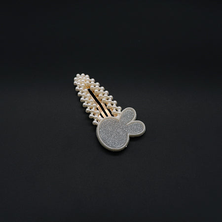 Over sized Pearl and  Sparkle filled Bunny Decorated Tick Tack  Hair Clip