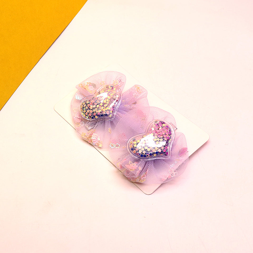 Pack of 2 Sparkle Star filled Decorated Heart Alligator Hair pins