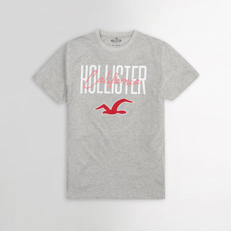 Grey Print & Applique Logo Slim Fit T-shirt (HO-614)