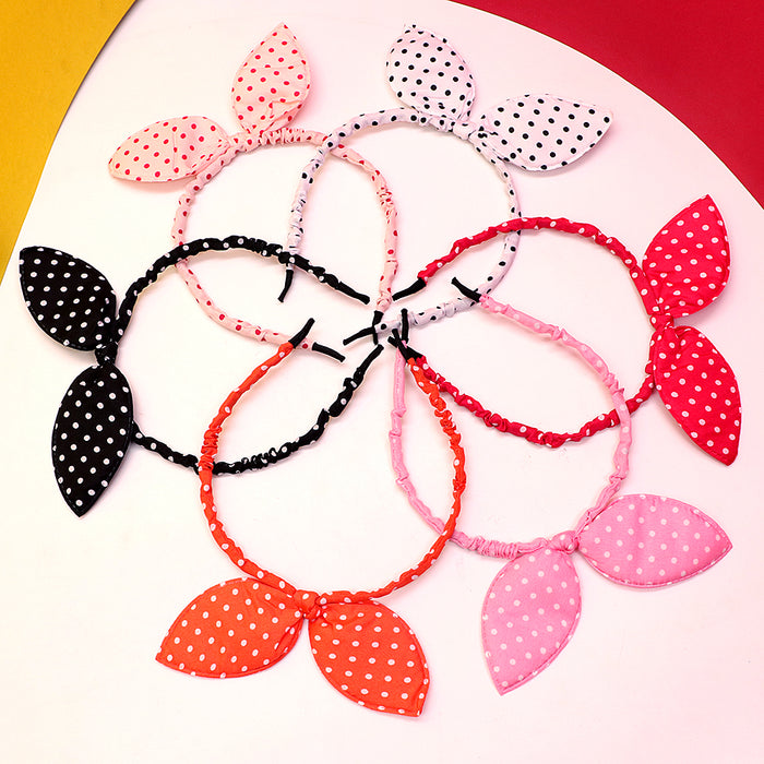 Premium Quality Polka Dots Soft fabric wrapped Bunny ear Hair band for girls