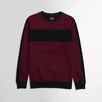 GP Men Burgundy Color Block Sweatshirt (GA-1555)