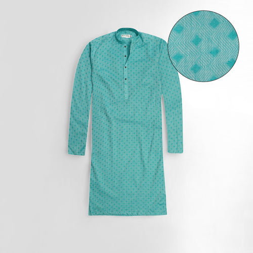 Sea Green Jacquard Fabric premium quality kurta (AX-626)