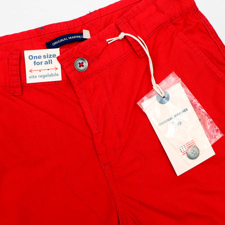 Exclusive boys red printed Bermuda shorts in stretch cotton (OM-2935)