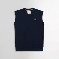 Hlster Navy  Men Sleeveless V Neck Rib Sweater (HO-1550)