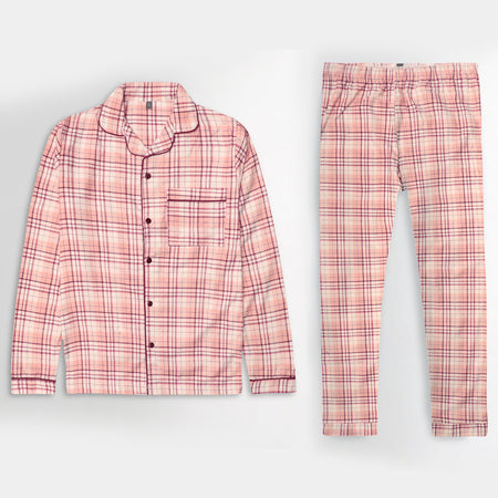 Women Cotton Checked Sleepwear Flannel Pajama Set (NS-10443)