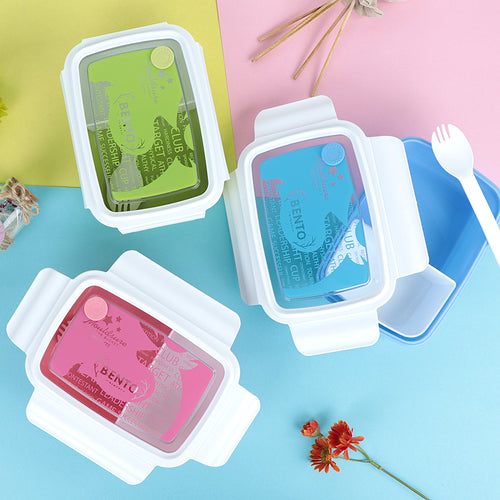 Transparent Printed Cover Two Compartment Plastic Lunch with Rubber Flask Seal