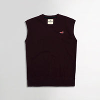 Hlster Burgundy Men Sleeveless V Neck Rib Sweater (HO-1559)
