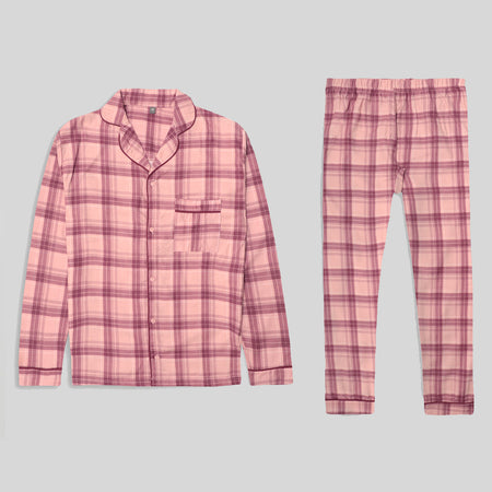 Women Cotton Checked Sleepwear Flannel Pajama Set  (NS-10444)