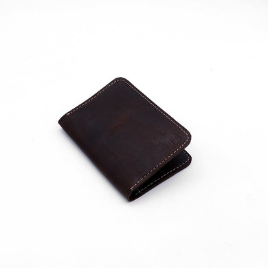 Genuine Pull Up Leather Wood Brown mini Wallet   (DS-2929)