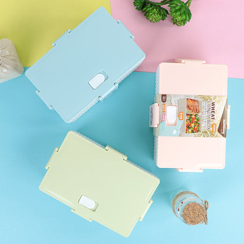 Portable Two Compartment Plastic Lunch with Rubber Flask Seal
