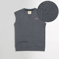 Hlster Dk Grey Men Sleeveless V Neck Rib Sweater (HO-1579)