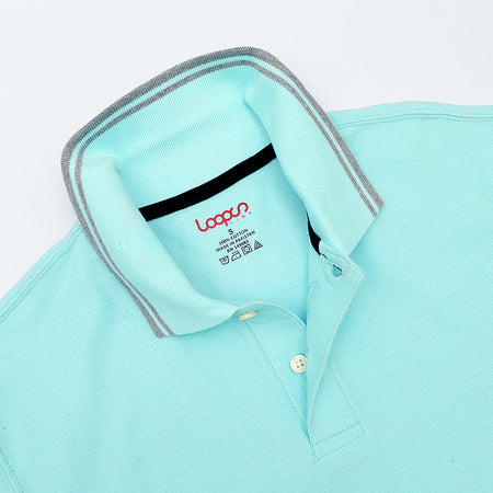 Sky  Pure Cotton Tipped Collar Regular Fit Polo Shirt (LP-2965)