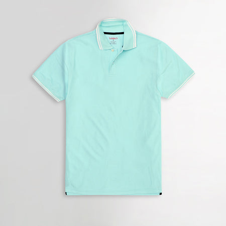 Sky Pure Cotton Tipped Collar Regular Fit Polo Shirt (LP-2968)