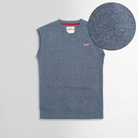 Hlster Denim Marl Men Sleeveless V Neck Rib Sweater (HO-1573)