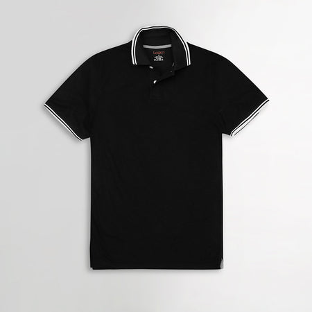 Black Pure Cotton Tipped Collar Regular Fit Polo Shirt (LP-2971)