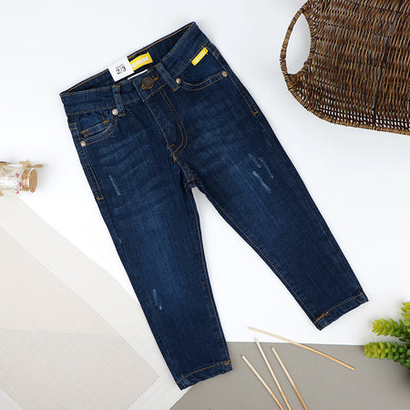 Boys Skinny Leg Blue Wash Stretch & Distressed Denim Jeans  (ZA-10421)