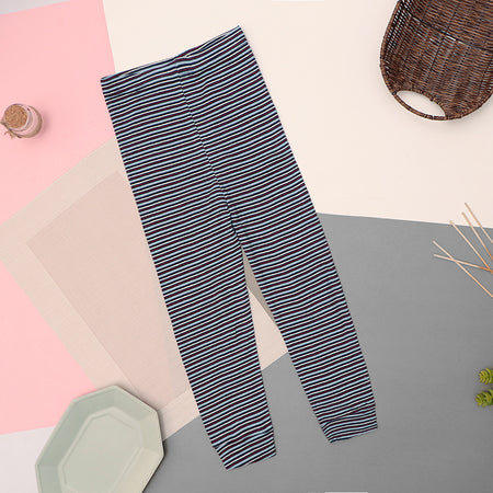 Girls Dyed yarn Striped Navy Cotton Cuffed Leggings  (LG-10538)