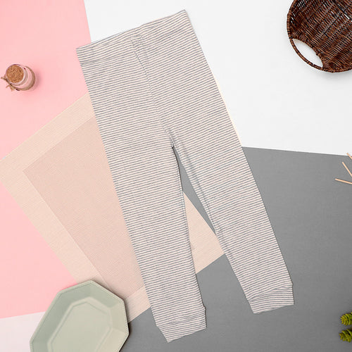 Girls Dyed yarn Striped Grey Cotton Cuffed Leggings (LG-10451)