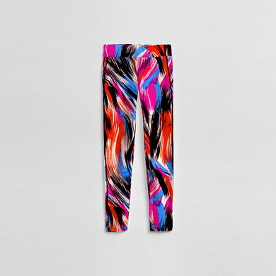Women Abstract Color Print Compression Hi-Waist Tights (ZE-346)
