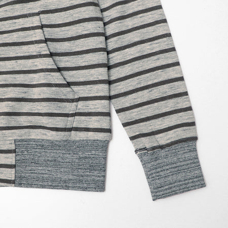 Grey Marl Dyed Yarn Striped Zipper Hoodie (HO-10047)
