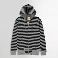 Charcoal Marl Dyed Yarn Striped Zipper Hoodie (HO-10045)