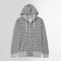 Grey Marl Dyed Yarn Striped Zipper Hoodie (HO-10032)