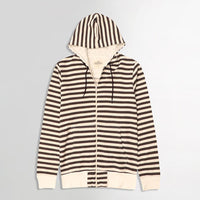 Off white Dyed Yarn Striped Zipper Hoodie (HO-10046)