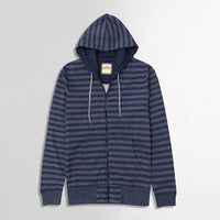 Denim Marl Dyed Yarn Striped Zipper Hoodie (HO-10031)
