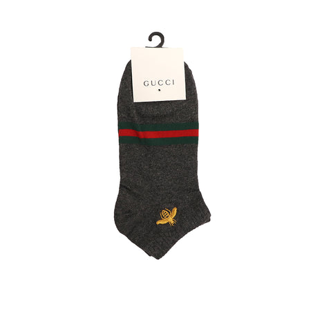 Bee Embroidered Jacquard Striped Ankle Socks  (GU-1499)