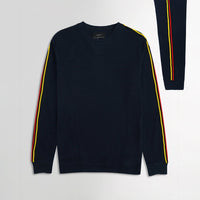 ZR Men Navy Popcorn Terry Sweat with Sleeve web tape (ZA-1662)