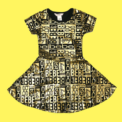 Bebe Girls Allover Foil Printed Stretchy Dress Frocks 2 to 14 Year (GU-4563)
