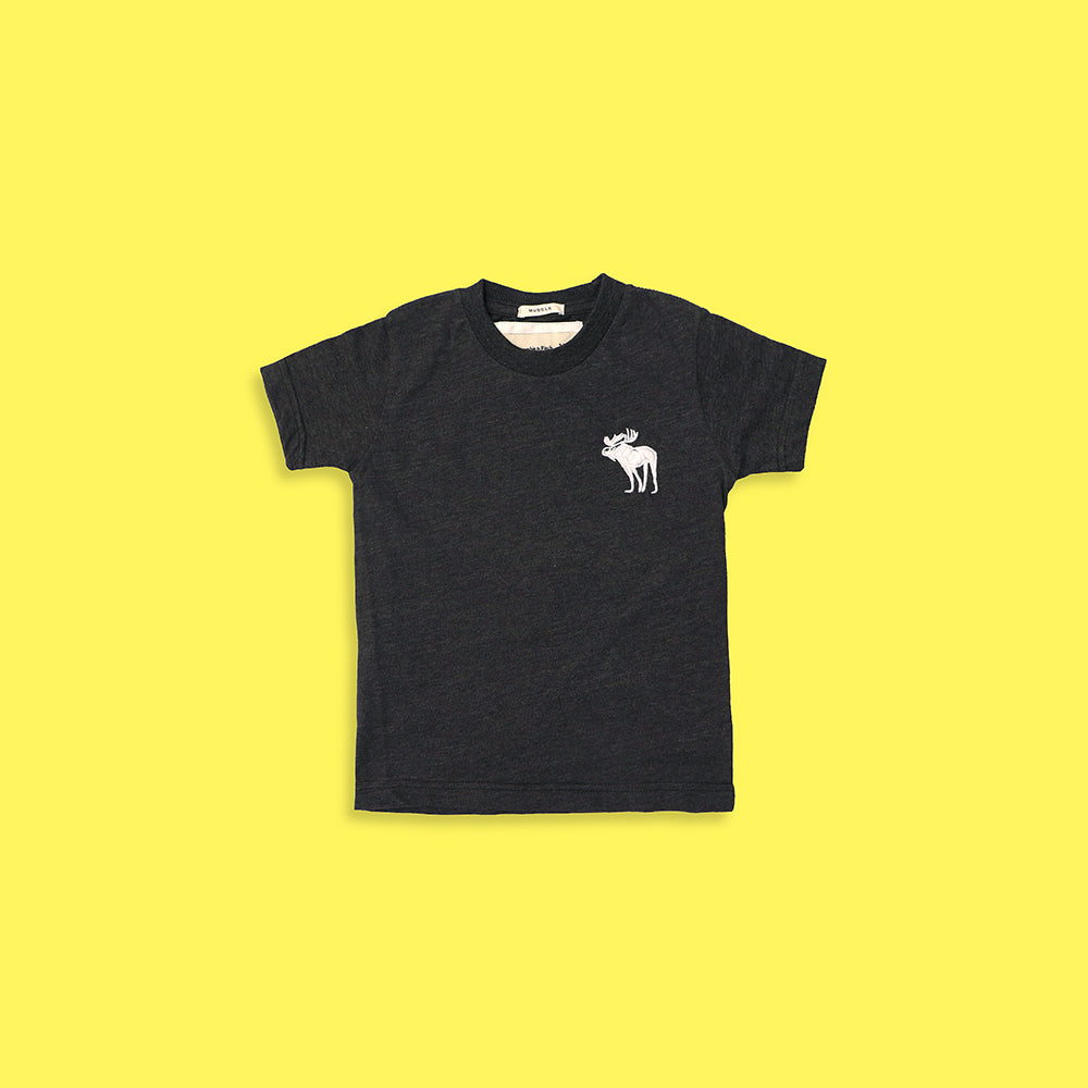 Kids AF Pure Cotton Charcoal Left Chest Embroidered T-Shirt (AB-4580)