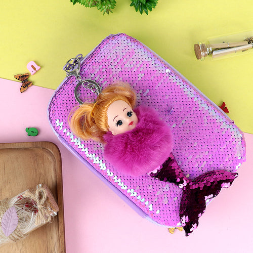 Sequin decorated Big Size Multi Purpose Case with Pom Pom mermaid Key Chain (JB-20394)