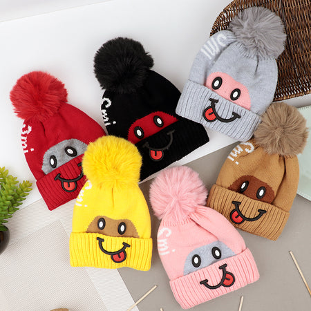 Kids Lovely Smiley Winter Warm Soft Jacquard Knitted Wool Fur Lined  Cap