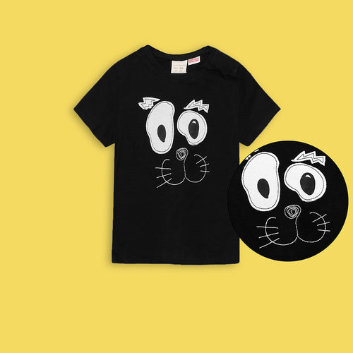 Kids Confused Cat Applique Graphic Tee Shirt  (ZA-3037)