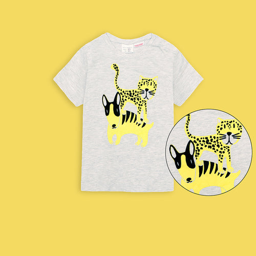 Kids Leopards Graphic Tee Shirt  (ZA-3042)