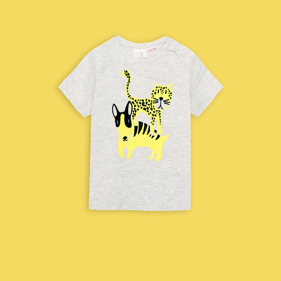 ZR Kids Leopards Graphic Tee Shirt  (ZA-3042)