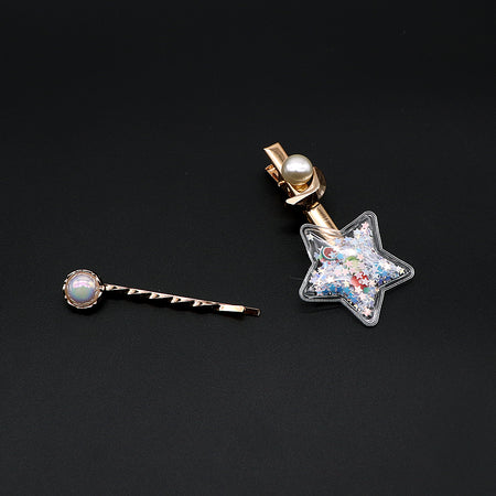 Glitter filled Star Decorated Hair pin set