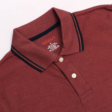 Brick Red Pure Cotton Tipped Collar Regular Fit Polo Shirt (LO-774)