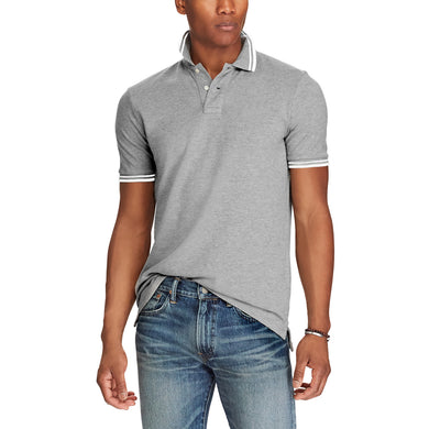 Grey Pure Cotton Tipped Collar Regular Fit Polo Shirt (LO-777)