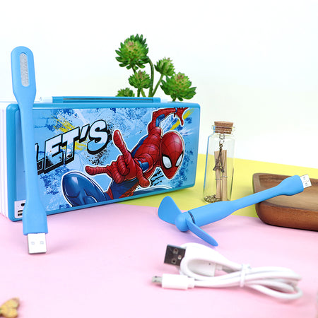 Trendy Spiderman Led Cum Fan Rechargeable Pencil Box with USB (JB-20393)