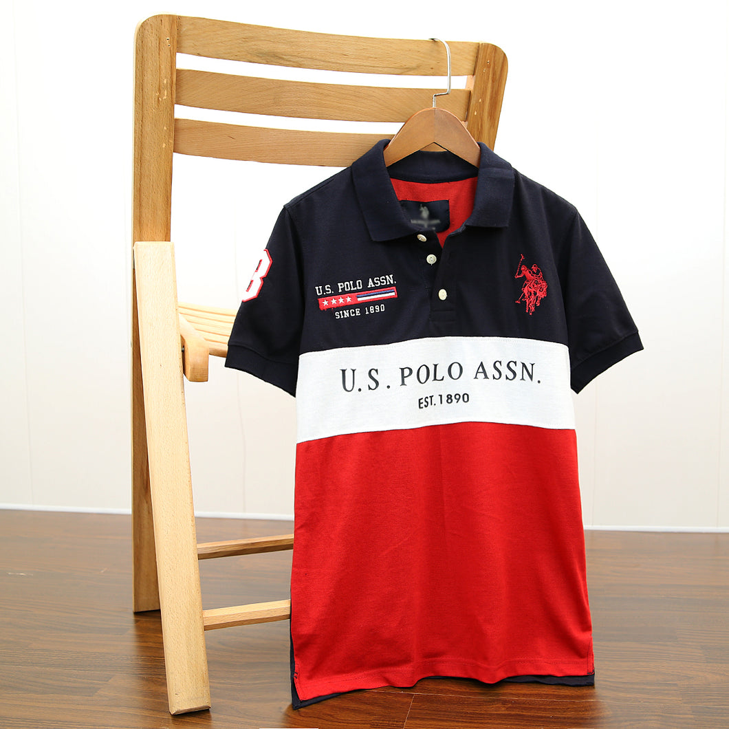 Men Color block embellished Embroidered Pique Polo shirt (US-11529)